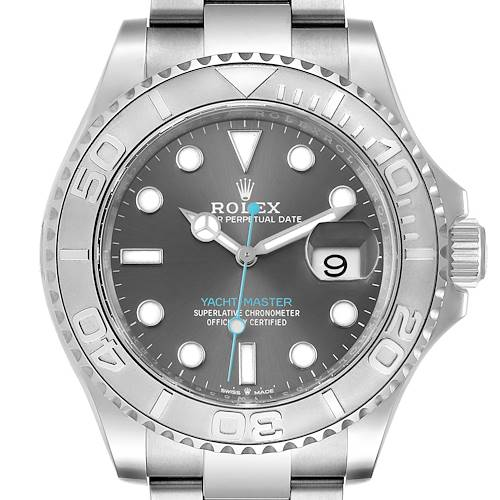 Photo of Rolex Yachtmaster Steel Platinum Rhodium Dial Mens Watch 126622 Box Card