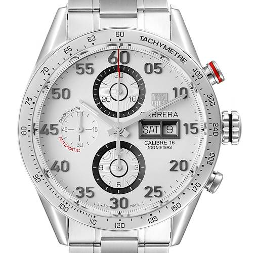 Photo of Tag Heuer Carrera Day-Date Silver Dial Steel Mens Watch CV2A11 Box Card