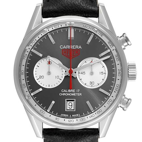 Photo of Tag Heuer Carrera Heritage Gray Dial Chronograph Steel Watch CV5110 Box Card
