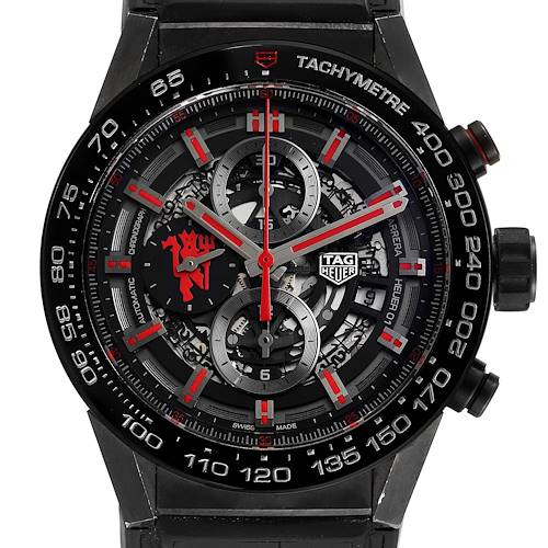 Photo of Tag Heuer Carrera Skeleton Dial Manchester United LE Watch CAR2A1J Box Card