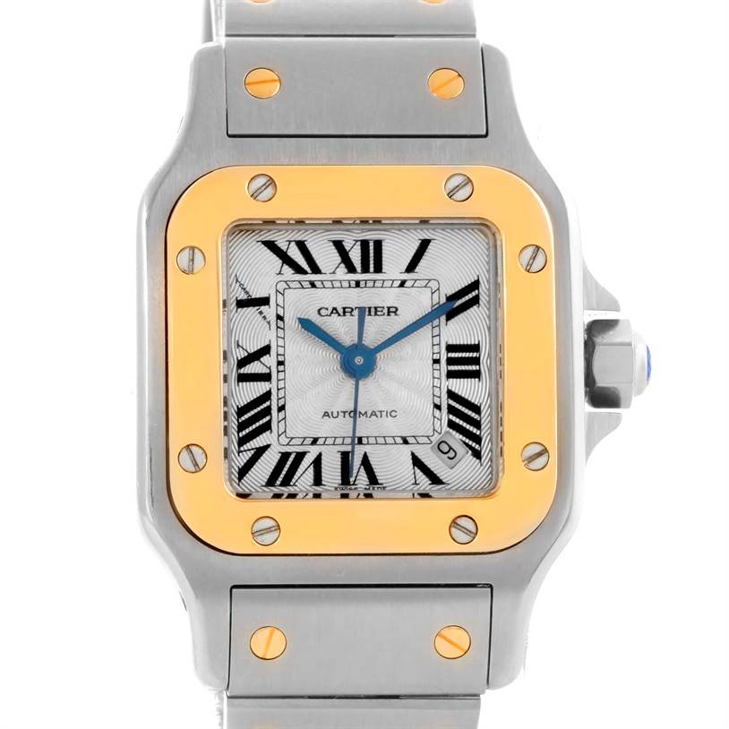 10870 Cartier Santos Small Steel 18K Yellow Gold Date Watch W20057C4 SwissWatchExpo