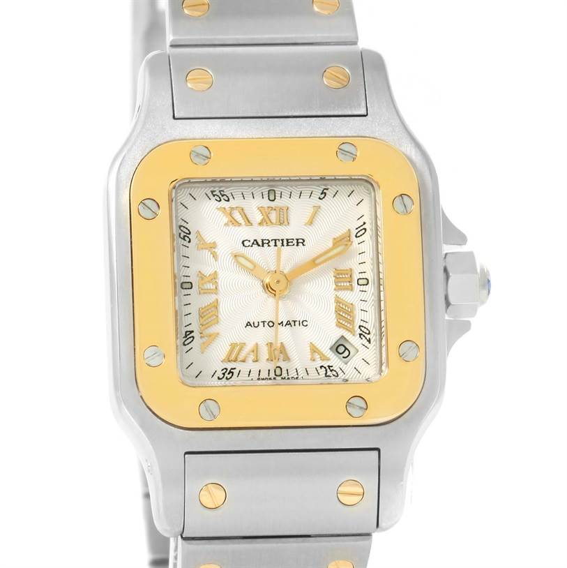 12158 Cartier Santos Small Steel 18K Yellow Gold Automatic Watch W20057C4 SwissWatchExpo