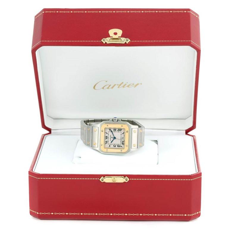 Cartier Santos Galbee Large Steel 18K Yellow Gold Quartz Watch W20011C4 SwissWatchExpo