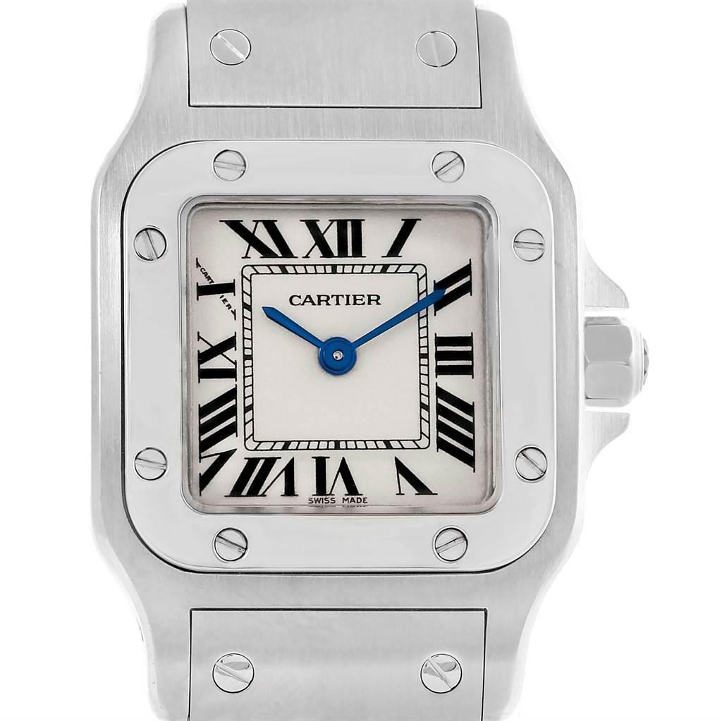 14379 Cartier Santos Galbee Steel Quartz Ladies Watch W20056D6 Box Papers SwissWatchExpo