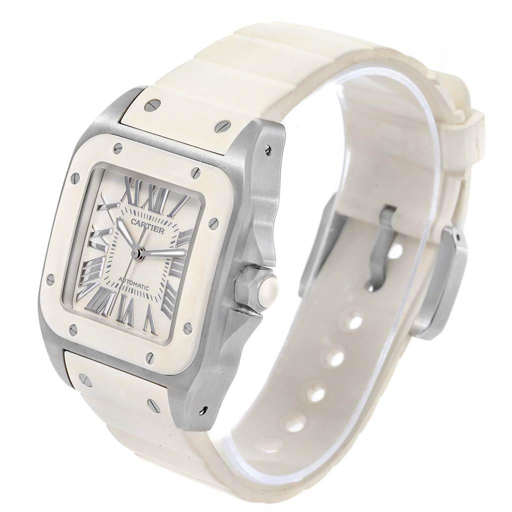 15054 Cartier Santos 100 Stainless Steel White Rubber Ladies Watch W20129U2  SwissWatchExpo