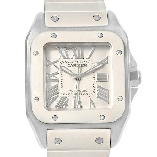 Photo of Cartier Santos 100 Stainless Steel White Rubber Ladies Watch W20129U2