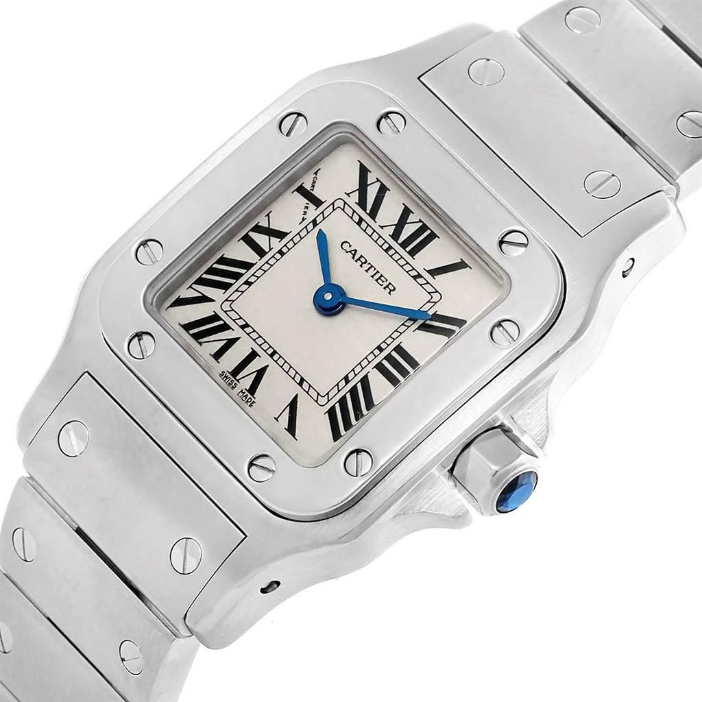 3765X Cartier Santos Galbee Silver Roman Dial Steel Ladies Watch W20056D6 SwissWatchExpo