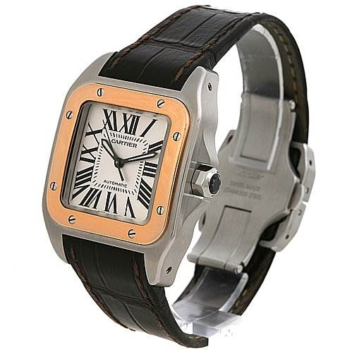 2465 Cartier Santos 100 Ss 18k Rose Gold Midsize Watch W20107x7 SwissWatchExpo