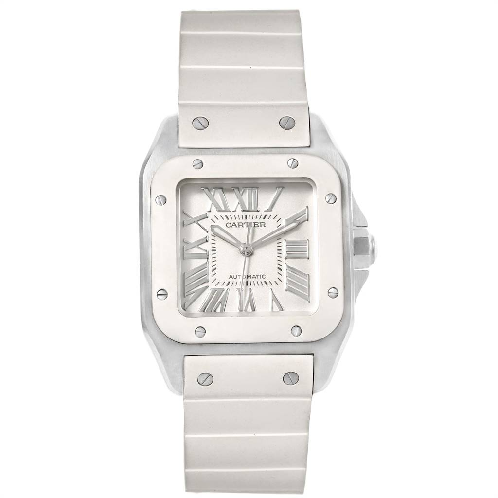 24865 Cartier Santos 100 Steel White Rubber Ladies Watch W20129U2 Box Papers SwissWatchExpo