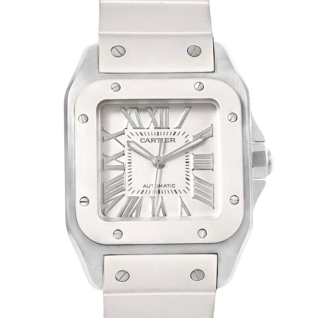 Cartier Santos 100 Steel White Rubber Ladies Watch W20129U2 Box Papers SwissWatchExpo