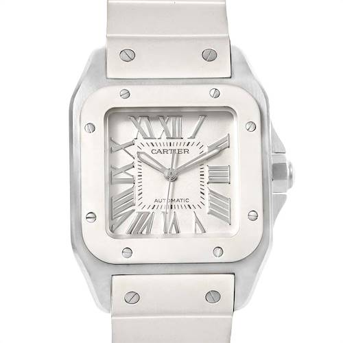 Photo of Cartier Santos 100 Steel White Rubber Ladies Watch W20129U2 Box Papers