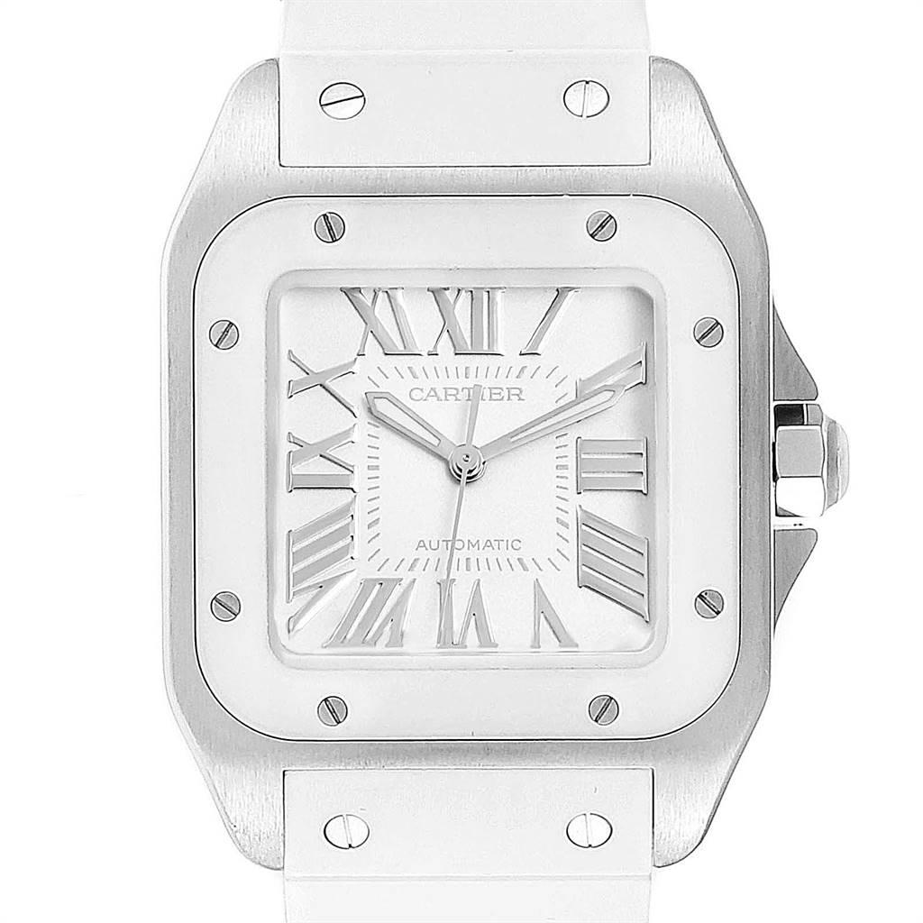 Cartier Santos 100 Steel White Rubber Ladies Watch W20129U2