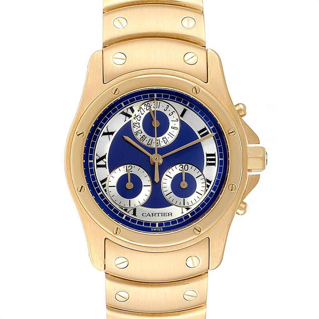 Cartier Santos Ronde Chronograph Blue Dial Yellow Gold Watch W15078G1 SwissWatchExpo