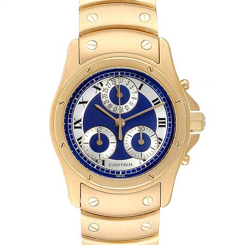 Photo of Cartier Santos Ronde Chronograph Blue Dial Yellow Gold Watch W15078G1