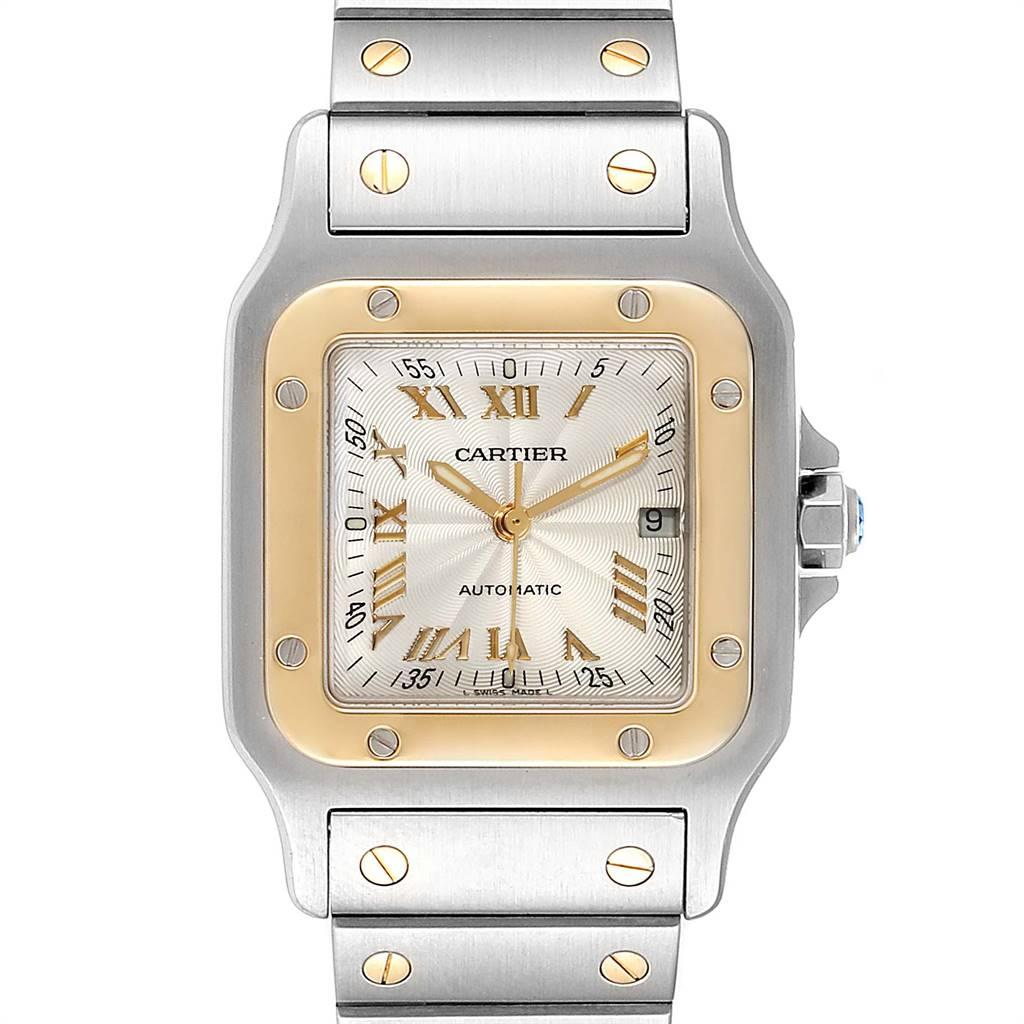 Cartier Santos Galbee Steel Yellow Gold Guilloche Dial Watch W20058C4