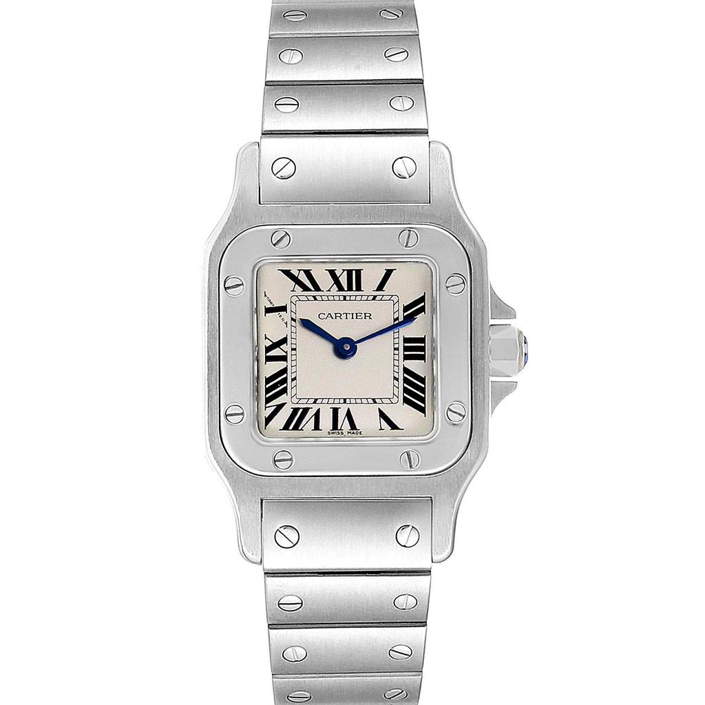 Cartier Santos Galbee Silver Roman Dial Steel Ladies Watch W20056D6 SwissWatchExpo