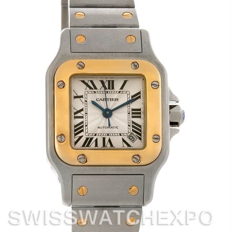 2893 Cartier Santos Galbee Ladies Stainless Steel and 18K Yellow Gold Automatic Watch SwissWatchExpo