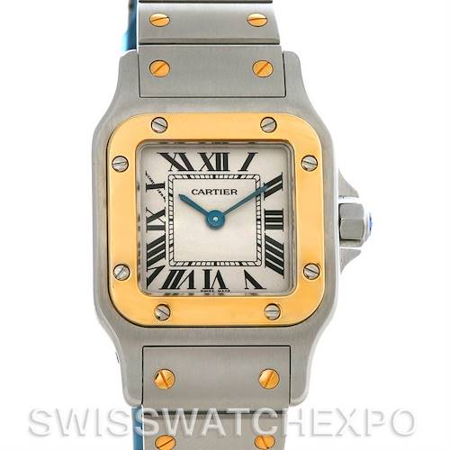 Photo of Cartier Santos Ladies Stainless Steel and 18K Yellow Gold Quartz Watch W20012C4
