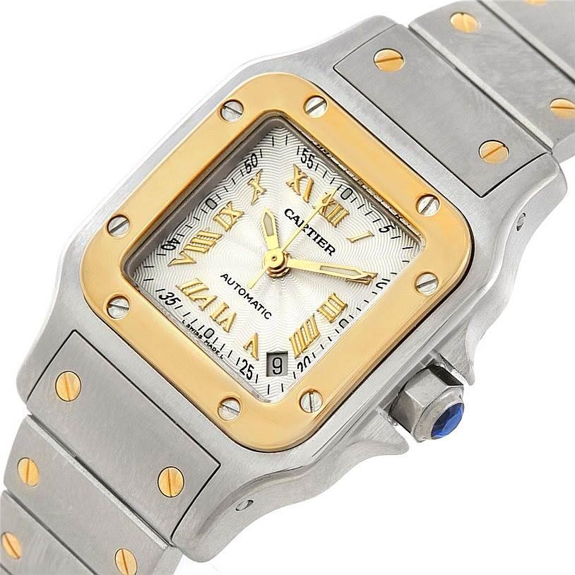 7293 Cartier Santos Small Steel 18K Yellow Gold Watch W20057C4 SwissWatchExpo