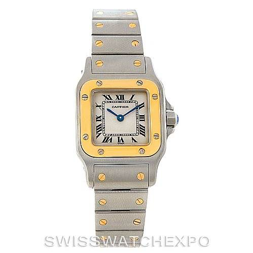 7637 Cartier Santos Galbee Ladies Steel 18K Yellow Gold Watch W20012C4 SwissWatchExpo