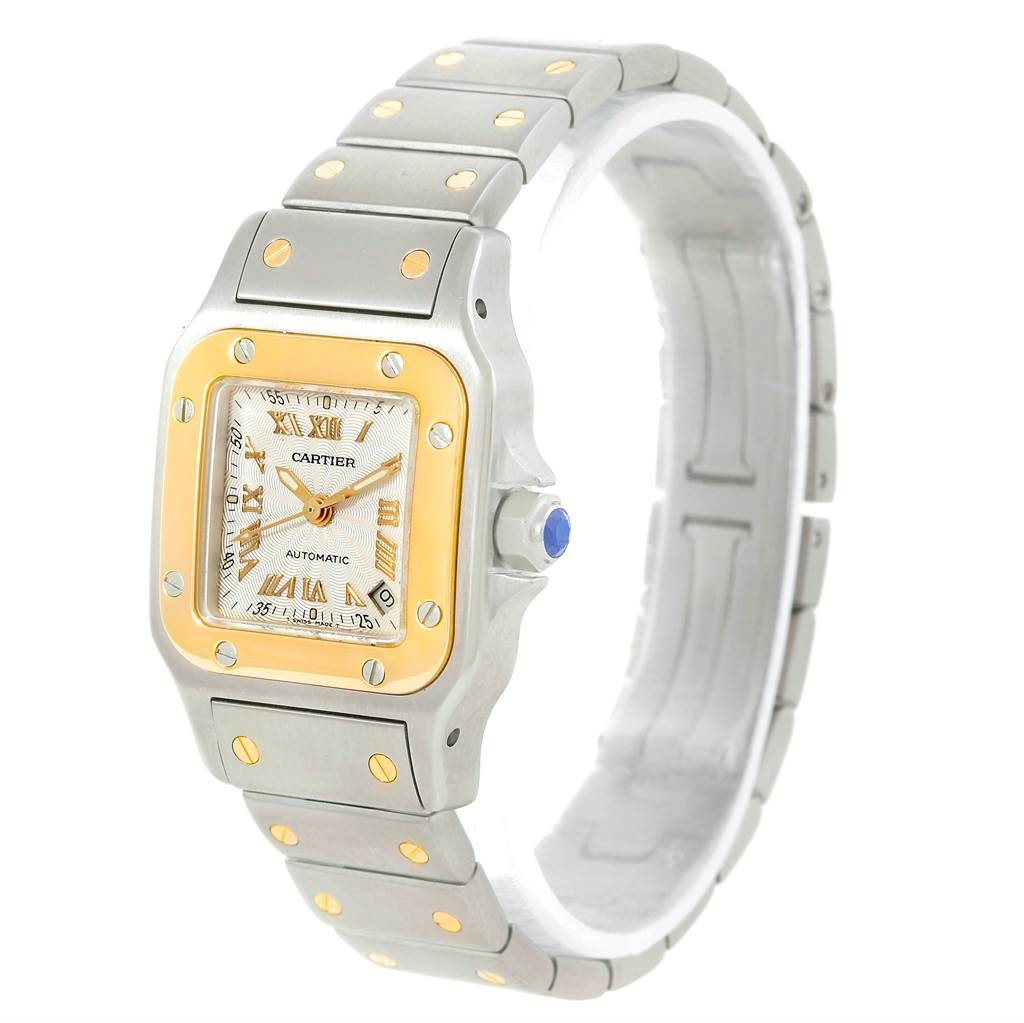 6813 Cartier Santos Small Steel 18K Yellow Gold Watch W20057C4 SwissWatchExpo