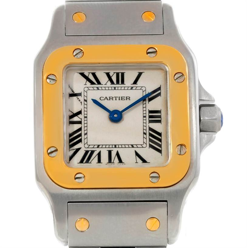 8913 Cartier Santos Galbee Ladies Steel 18K Yellow Gold Watch W20012C4 with 2 extra links installed SwissWatchExpo