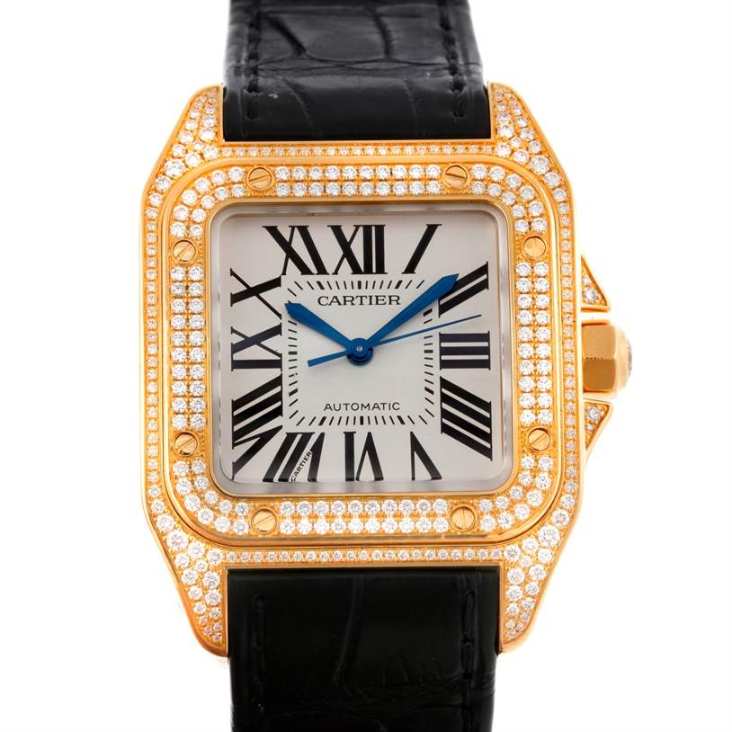 9086 Cartier Santos 100 Midsize 18K Yellow Gold Diamond Watch WM502051 SwissWatchExpo