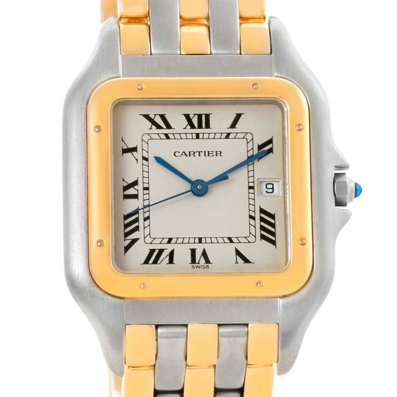 10702 Cartier Panthere Jumbo Steel 18K Yellow Gold Three Row Watch SwissWatchExpo
