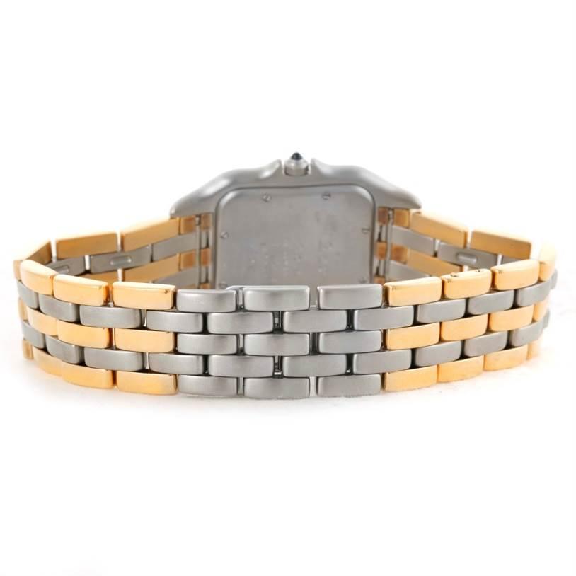 10702 Cartier Panthere Jumbo Steel 18K Yellow Gold Three Row Watch SwissWatchExpo