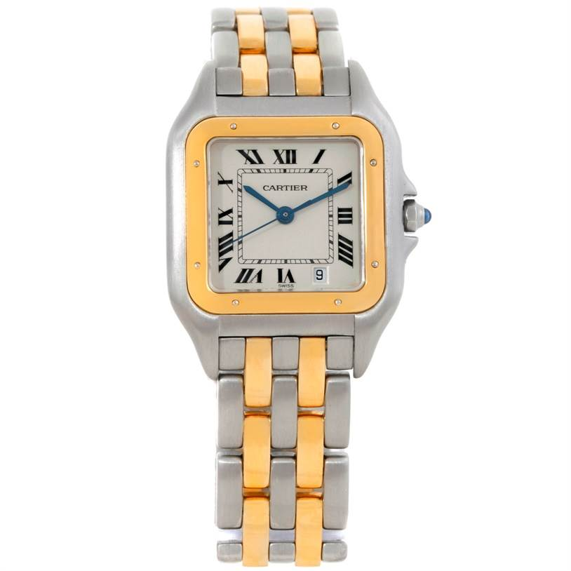 8644 Cartier Panthere Large Steel 18K Yellow Gold Date Watch W25028B6 SwissWatchExpo
