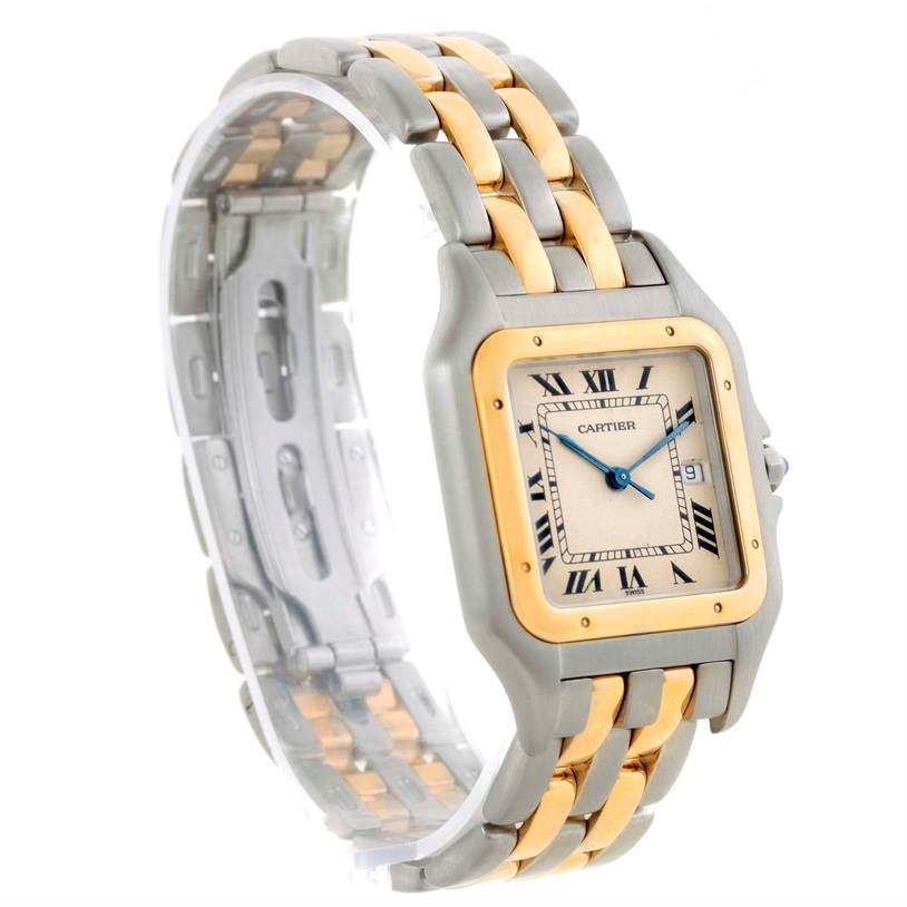10443 Cartier Panthere Jumbo Steel 18K Yellow Gold Two Row Watch SwissWatchExpo