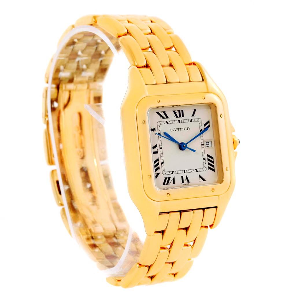10852 Cartier Panthere Jumbo 18K Yellow Gold Date Watch W25014B9 SwissWatchExpo