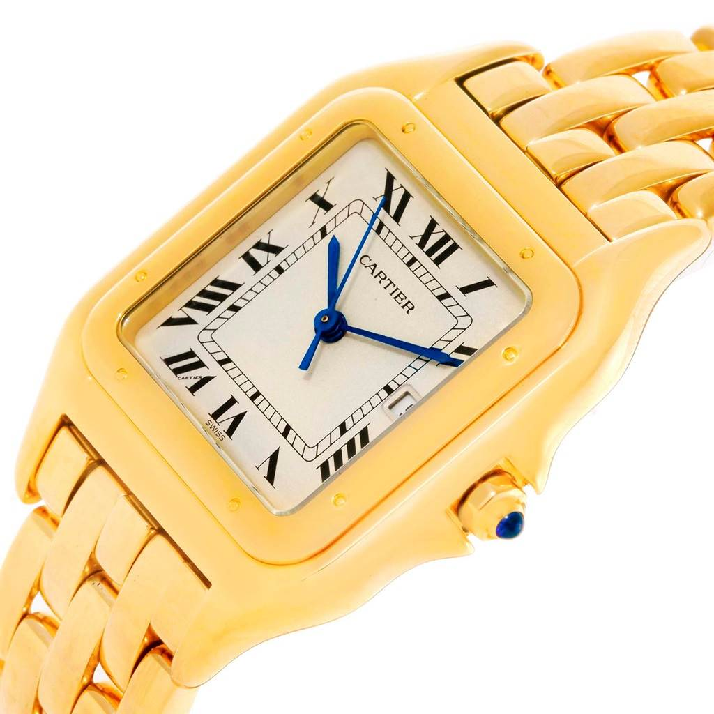 10852 Cartier Panthere Jumbo 18K Yellow Gold Date Watch W25014B9 SwissWatchExpo