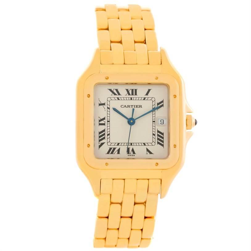 Cartier Panthere XL 18K Yellow Gold Date Quartz Watch W25014B9 SwissWatchExpo