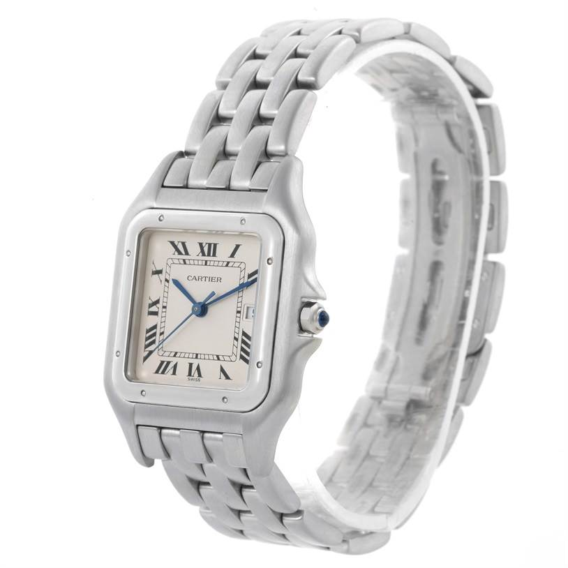 7154 Cartier Panthere Jumbo Stainless Steel Date Watch W25032P5 SwissWatchExpo