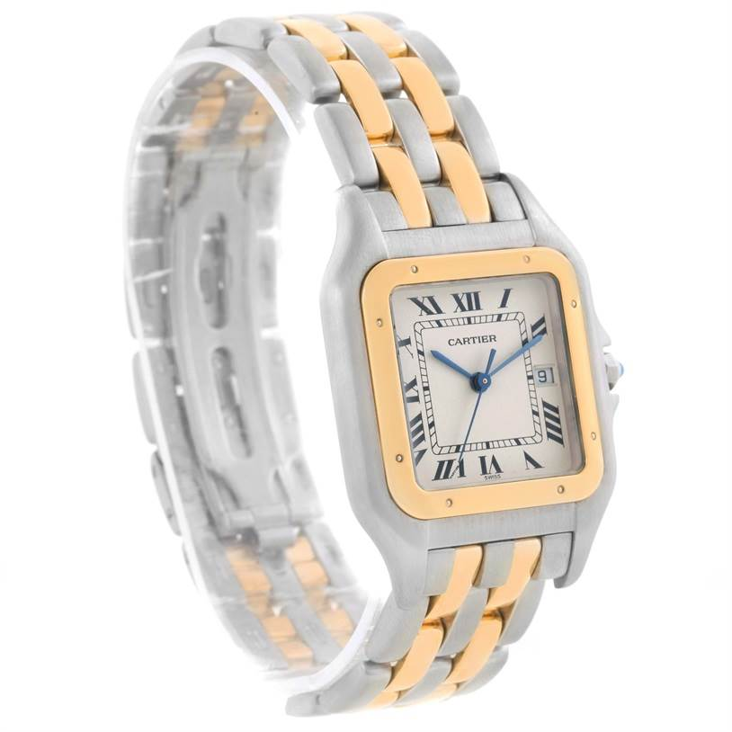11448 Cartier Panthere Jumbo Steel 18K Yellow Gold Two Row Watch SwissWatchExpo
