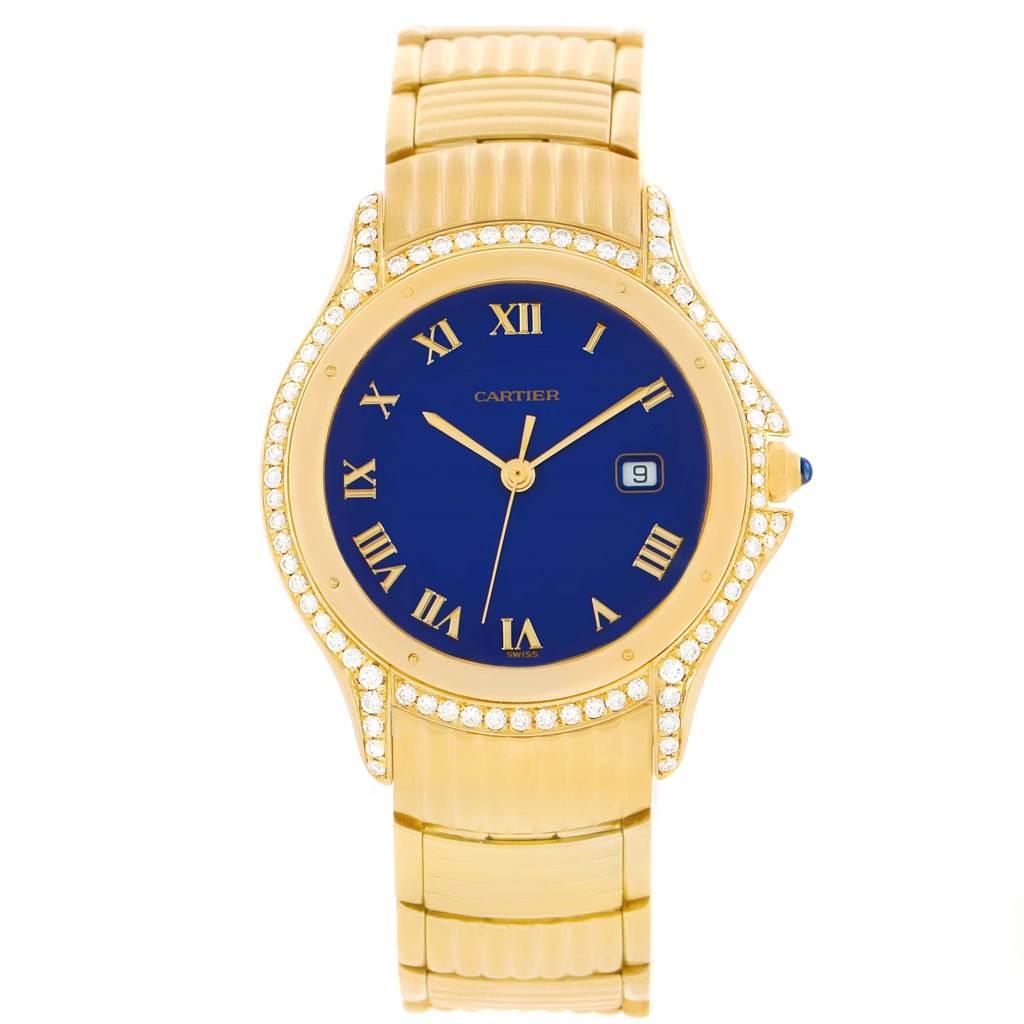 11342 Cartier Cougar 18K Yellow Gold Diamond Blue Dial Watch 11651 SwissWatchExpo