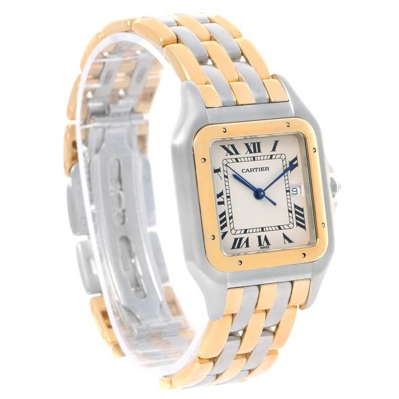12019 Cartier Panthere Jumbo Steel 18K Yellow Gold Three Row Watch SwissWatchExpo