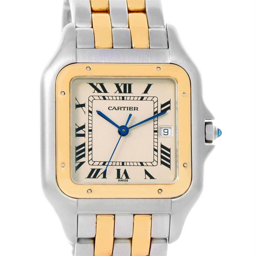 12020 Cartier Panthere Jumbo Steel 18K Yellow Gold Two Row Watch SwissWatchExpo