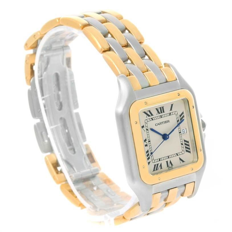 12018 Cartier Panthere Jumbo Steel 18K Yellow Gold Three Row Unisex Watch SwissWatchExpo