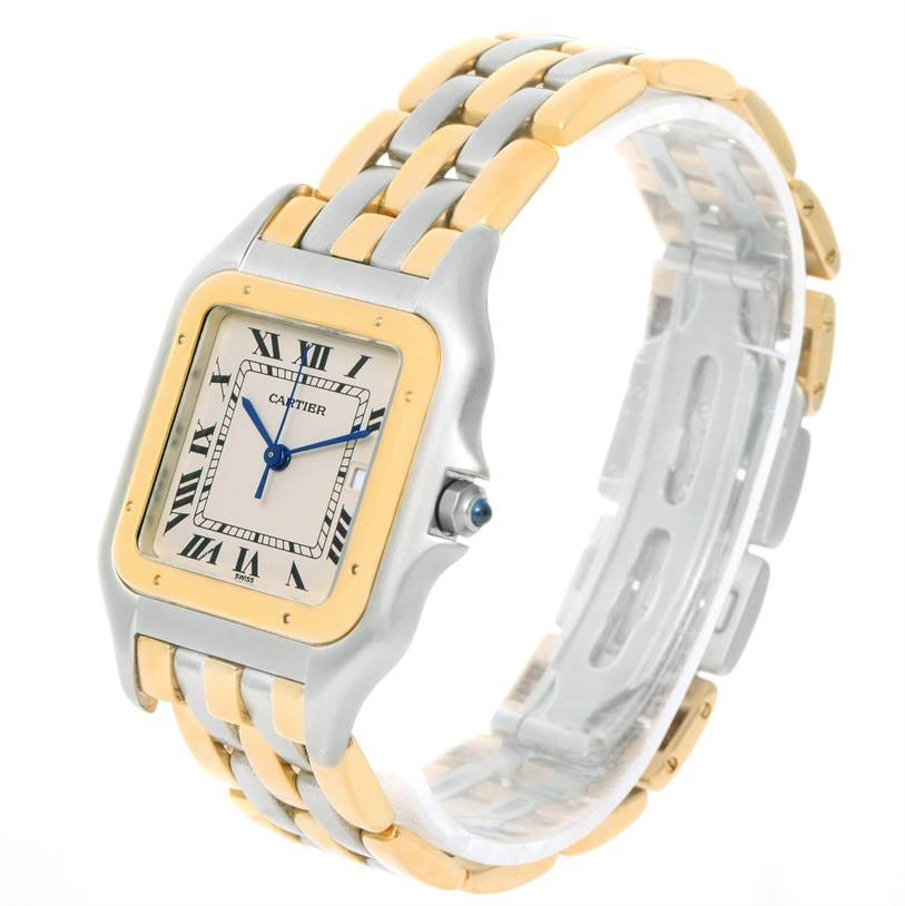 12018 Cartier Panthere Jumbo Steel 18K Yellow Gold Three Row Unisex Watch SwissWatchExpo