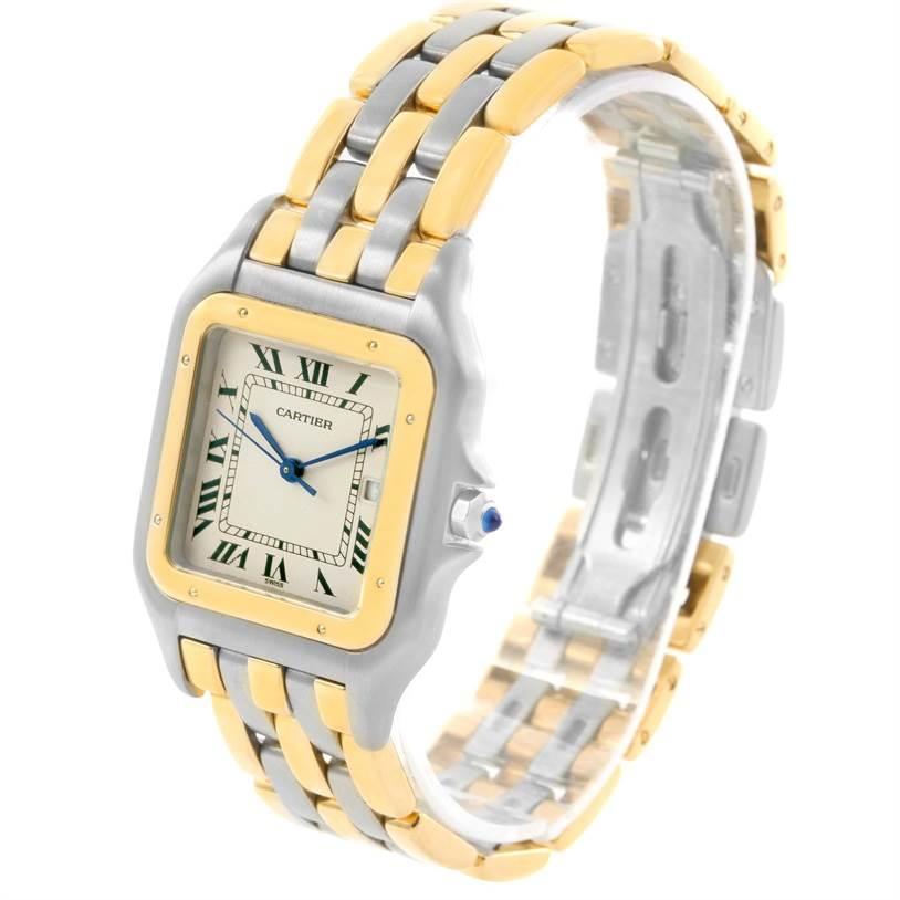 12433 Cartier Panthere Jumbo Steel 18K Yellow Gold Three Row Unisex Watch SwissWatchExpo