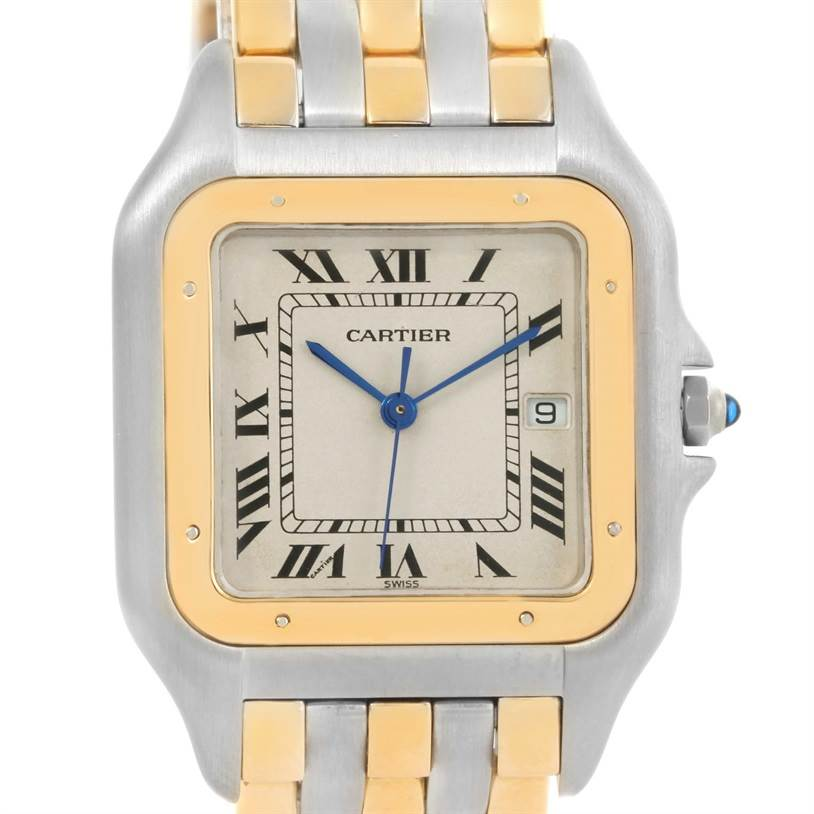 12612 Cartier Panthere Jumbo Steel 18K Yellow Gold Three Row Quartz Watch SwissWatchExpo