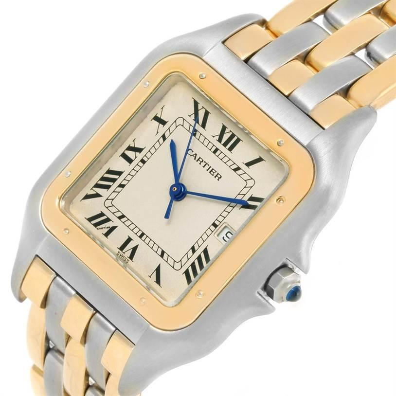 Cartier Panthere Jumbo Steel 18K Yellow Gold Three Row Quartz Watch SwissWatchExpo