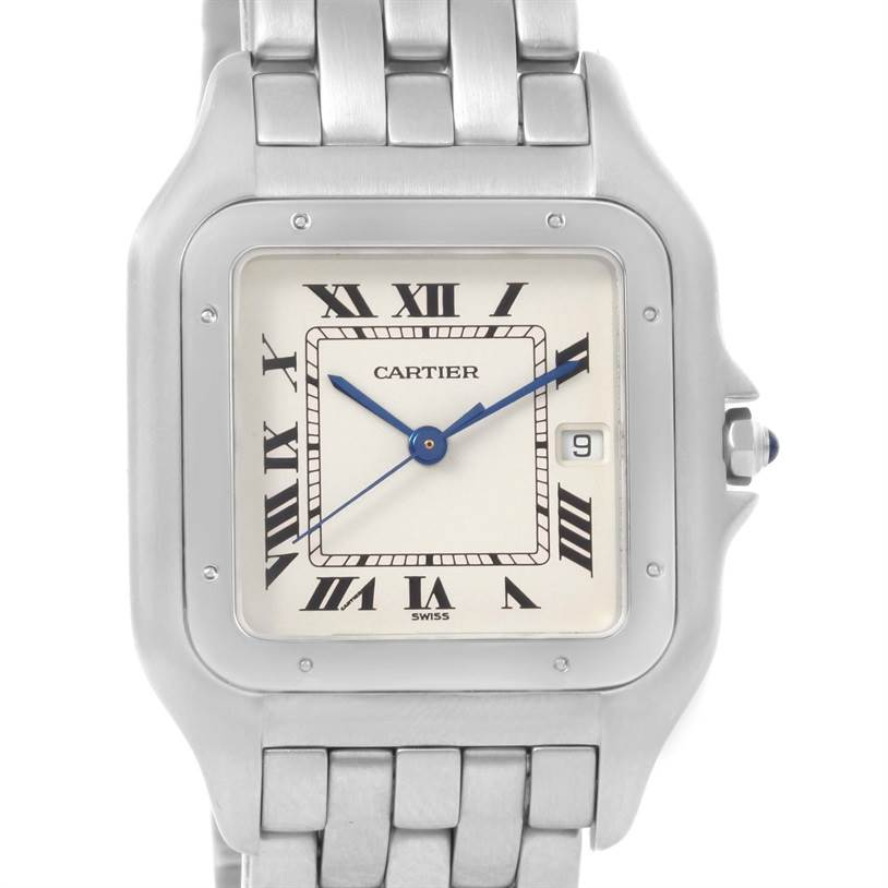 12833 Cartier Panthere Jumbo Stainless Stainless Steel Date Watch W25032P5 SwissWatchExpo