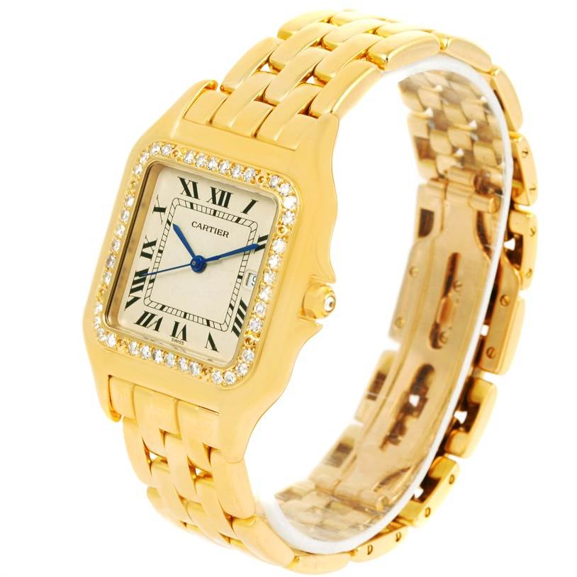 12743 Cartier Panthere Jumbo 18K Yellow Gold Diamond Watch SwissWatchExpo