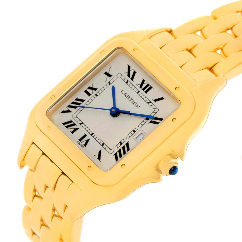 14389 Cartier Panthere XL 18K Yellow Gold Date Unisex Watch W25014B9 SwissWatchExpo