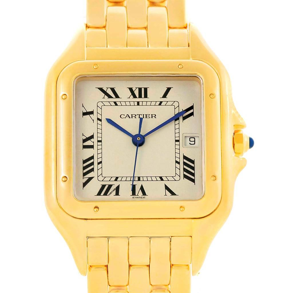 Cartier Panthere XL 18K Yellow Gold Date Unisex Watch W25014B9 SwissWatchExpo