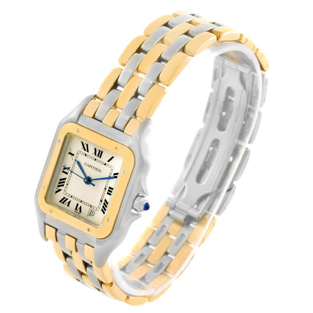 15261 Cartier Panthere Large Steel 18K Yellow Gold Date Watch W25028B6 SwissWatchExpo
