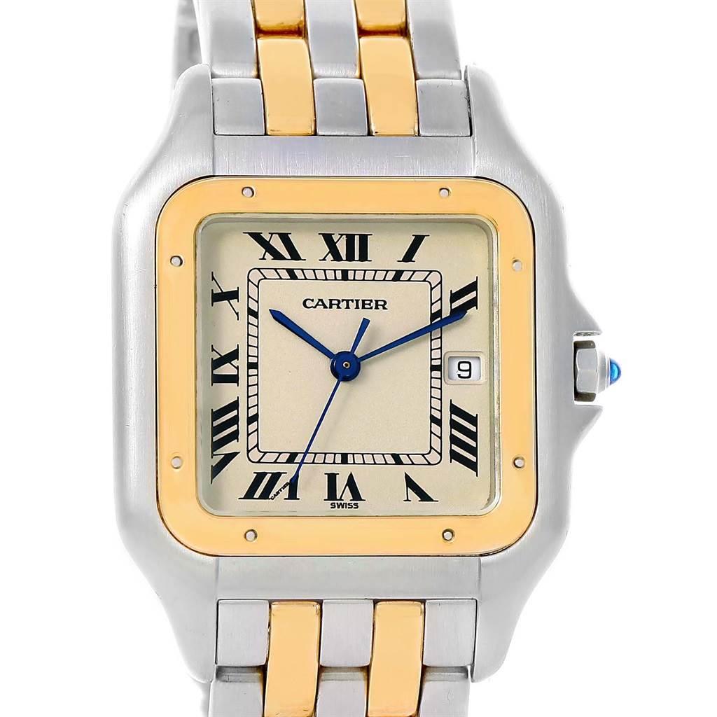 14780 Cartier Panthere Jumbo Steel Yellow Gold Two Row Unisex Watch 187957 SwissWatchExpo